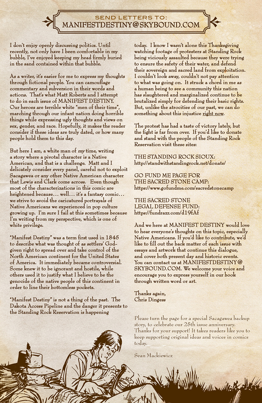 An Open Letter from the Writer of MANIFEST DESTINY