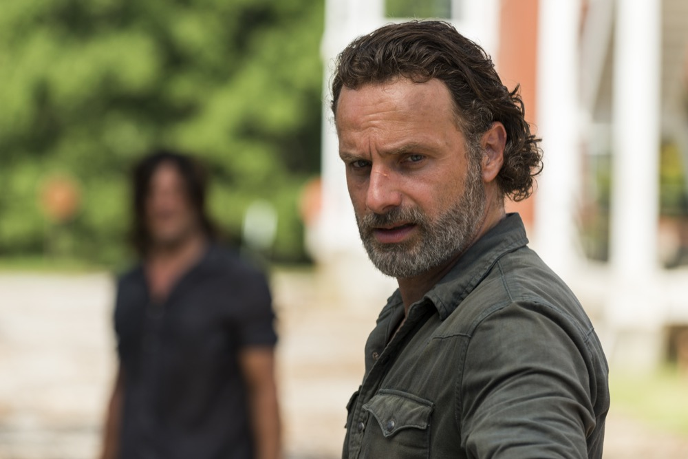 Andrew Lincoln as Rick Grimes, Norman Reedus as Daryl Dixon- The Walking Dead _ Season 7, Episode 9 - Photo Credit: Gene Page/AMC