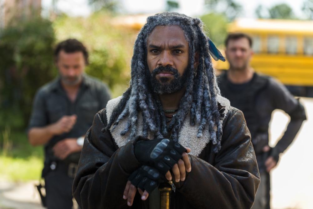 Andrew Lincoln as Rick Grimes, Khary Payton as Ezekiel, Karl Makinen as Richard- The Walking Dead _ Season 7, Episode 9 - Photo Credit: Gene Page/AMC