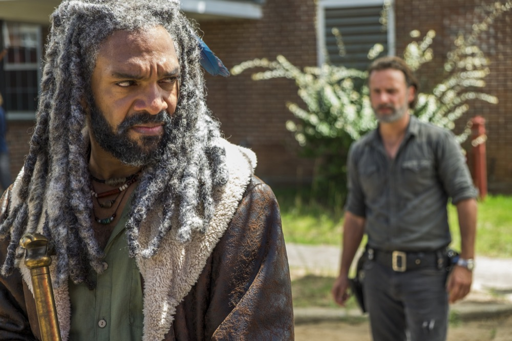 Khary Payton as Ezekiel, Andrew Lincoln as Rick Grimes; group- The Walking Dead _ Season 7, Episode 9 - Photo Credit: Gene Page/AMC