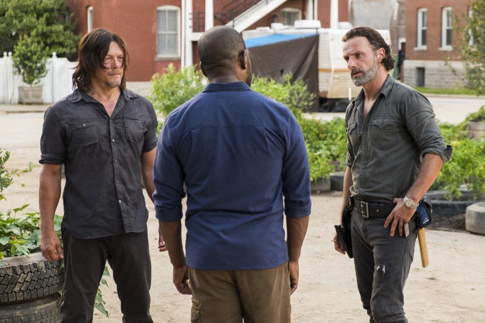 Norman Reedus as Daryl Dixon, Lennie James as Morgan Jones, Andrew Lincoln as Rick Grimes- The Walking Dead _ Season 7, Episode 9 - Photo Credit: Gene Page/AMC