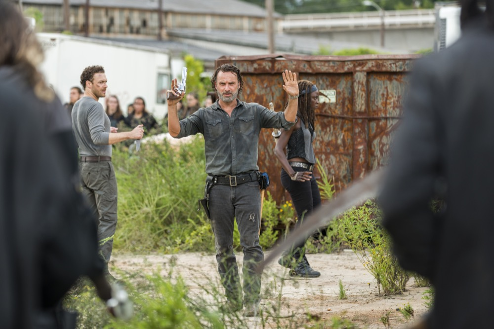Andrew Lincoln as Rick Grimes, Danai Gurira as Michonne, Ross Marquand as Aaron- The Walking Dead _ Season 7, Episode 9 - Photo Credit: Gene Page/AMC