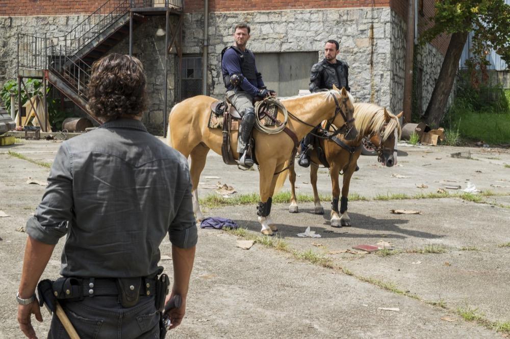Andrew Lincoln as Rick Grimes, Carlos Navarro as Alvaro, Karl Makinen as Richard- The Walking Dead _ Season 7, Episode 9 - Photo Credit: Gene Page/AMC