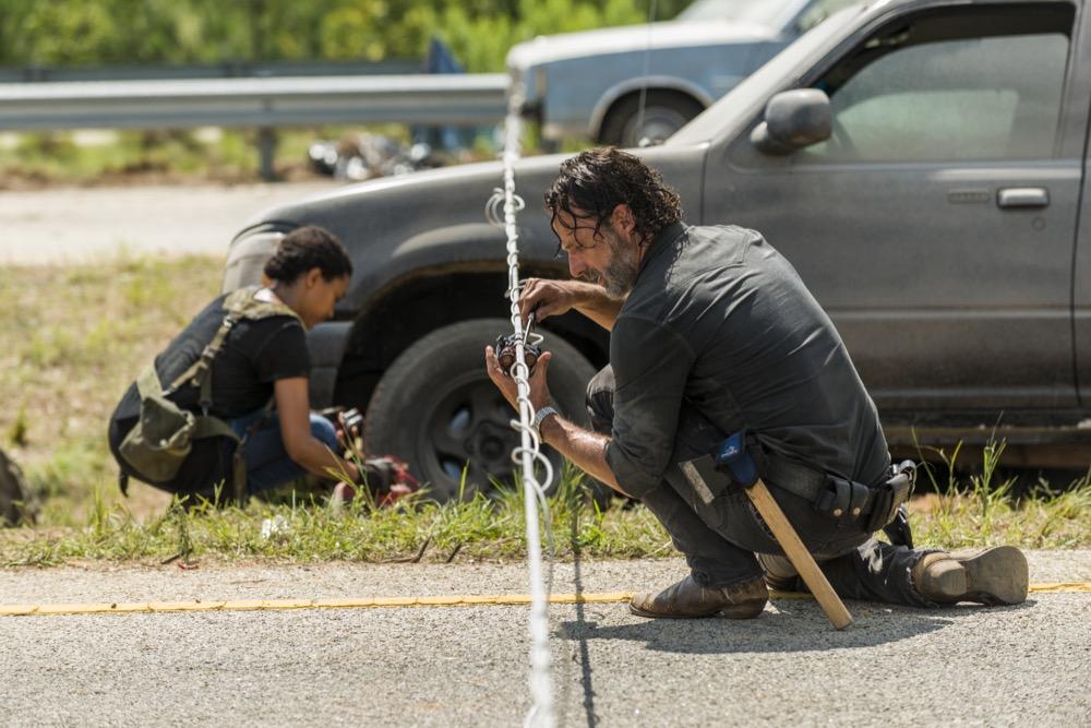 Andrew Lincoln as Rick Grimes, Sonequa Martin-Green as Sasha Williams- The Walking Dead _ Season 7, Episode 9 - Photo Credit: Gene Page/AMC