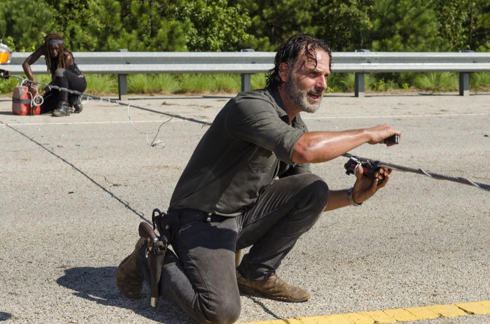 Danai Gurira as Michonne, Andrew Lincoln as Rick Grimes- The Walking Dead _ Season 7, Episode 9 - Photo Credit: Gene Page/AMC
