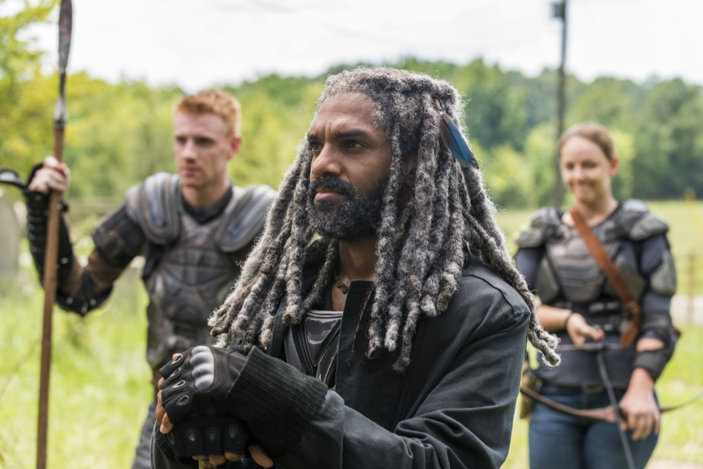 Khary Payton as Ezekiel, Josh Mikel as Jared, Kerry Cahill as Dianne - The Walking Dead _ Season 7, Episode 10 - Photo Credit: Gene Page/AMC
