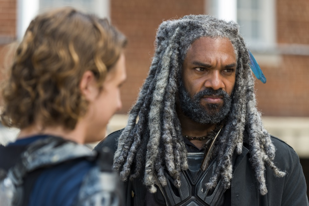 Khary Payton as Ezekiel, Logan Miller as Benjamin - The Walking Dead _ Season 7, Episode 10 - Photo Credit: Gene Page/AMC