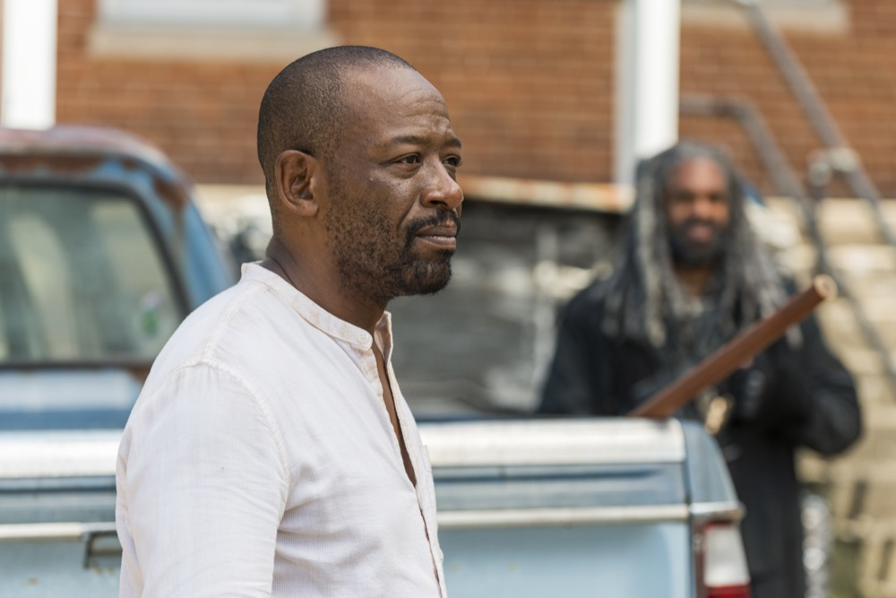 Lennie James as Morgan Jones, Khary Payton as Ezekiel - The Walking Dead _ Season 7, Episode 10 - Photo Credit: Gene Page/AMC