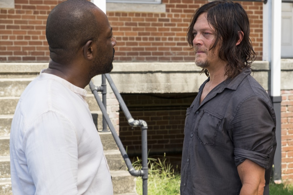 Lennie James as Morgan Jones, Norman Reedus as Daryl Dixon - The Walking Dead _ Season 7, Episode 10 - Photo Credit: Gene Page/AMC