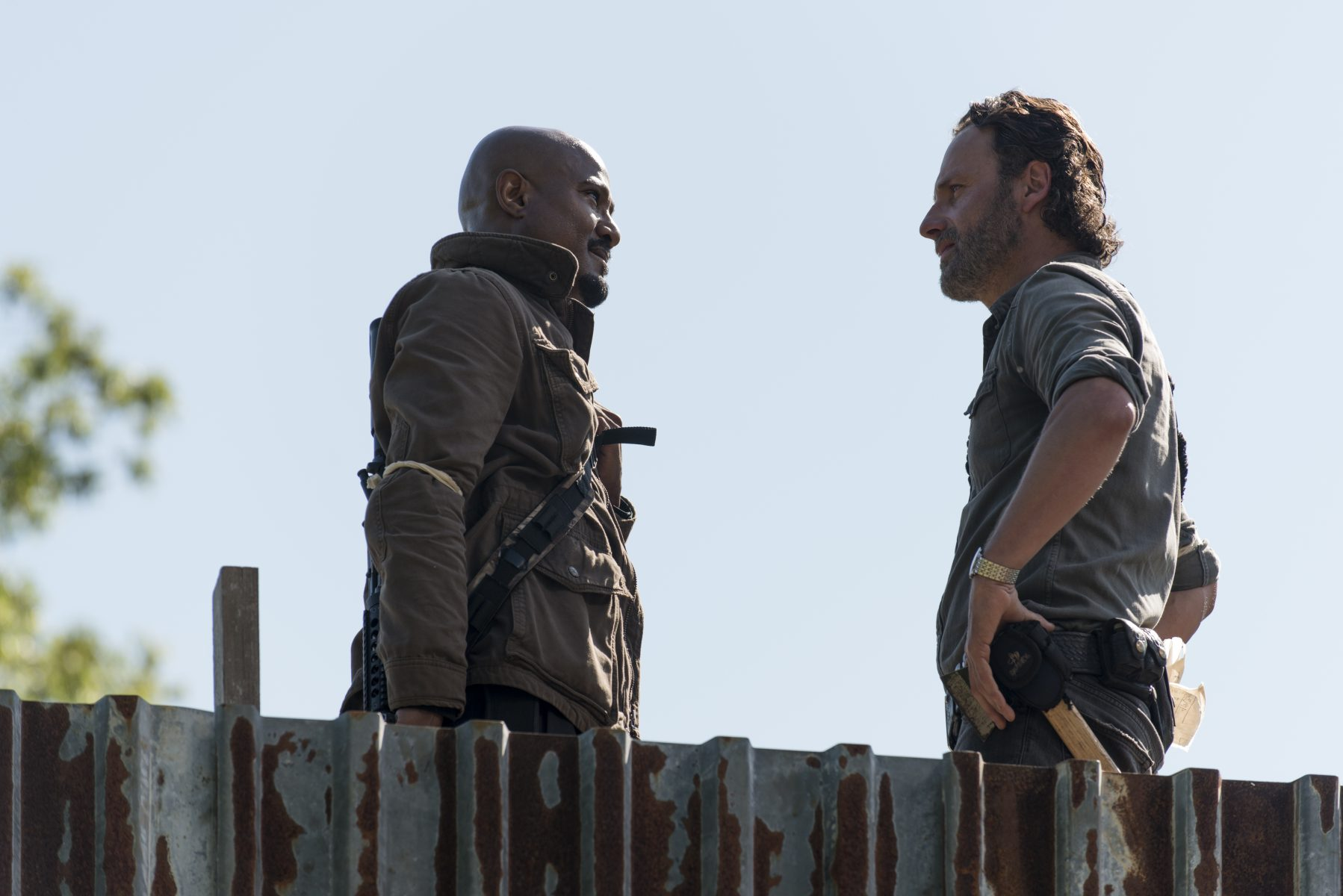 Andrew Lincoln as Rick Grimes, Seth Gilliam as Father Gabriel Stokes- The Walking Dead _ Season 8, Episode 1 - Photo Credit: Gene Page/AMC