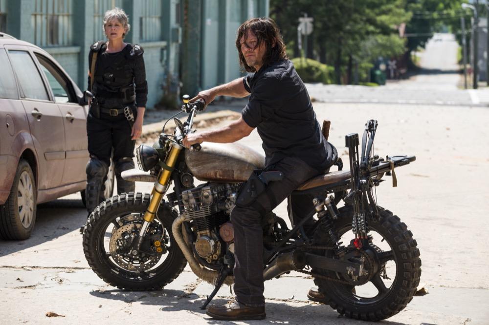 Melissa McBride as Carol Peletier, Norman Reedus as Daryl Dixon- The Walking Dead _ Season 8, Episode 1 - Photo Credit: Gene Page/AMC
