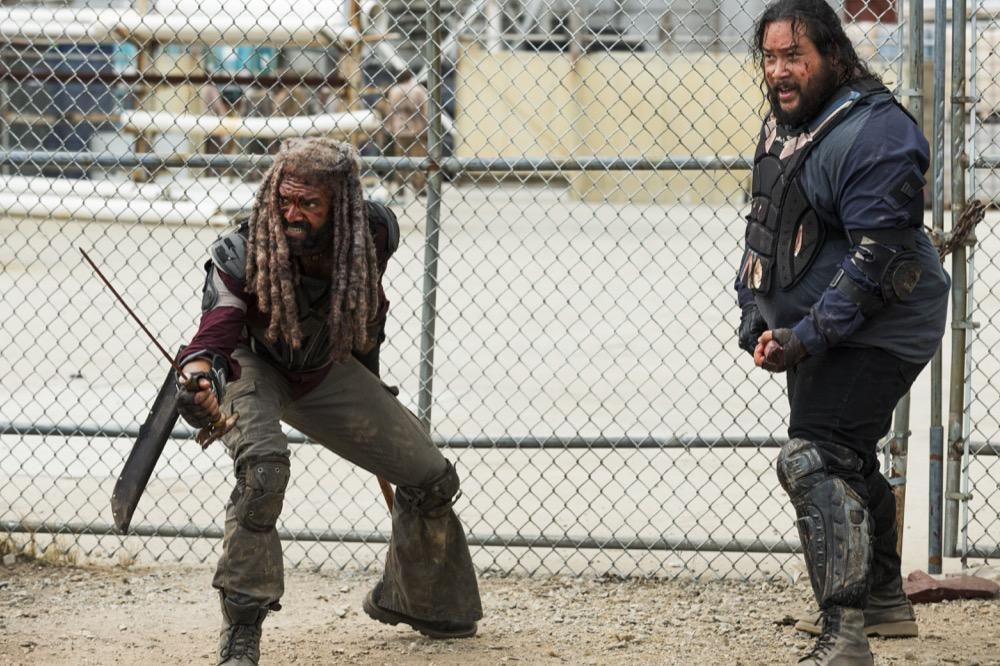 Khary Payton as Ezekiel, Cooper Andrews as Jerry - The Walking Dead _ Season 8, Episode 4 - Photo Credit: Gene Page/AMC