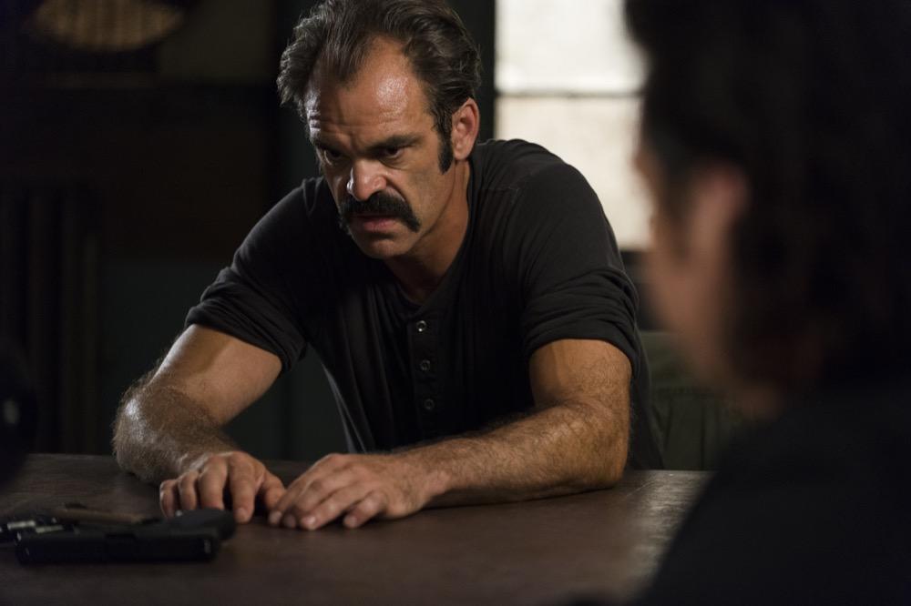 Steven Ogg as Simon, Josh McDermitt as Dr. Eugene Porter- The Walking Dead _ Season 8, Episode 5 - Photo Credit: Gene Page/AMC