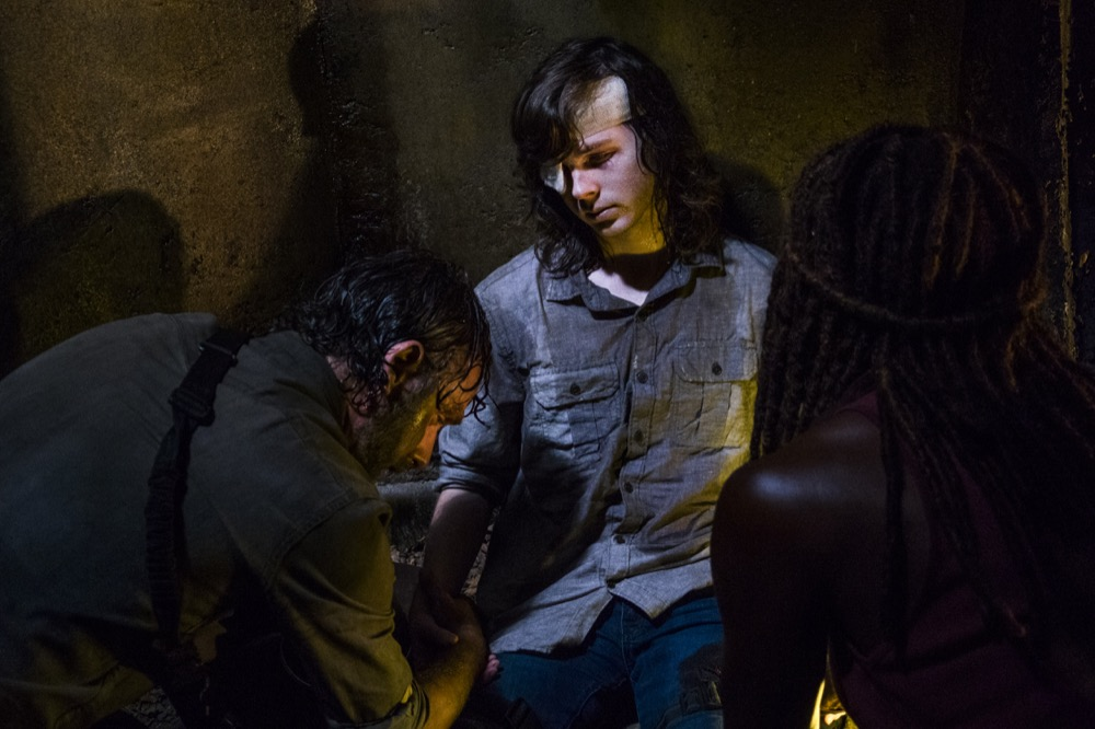 Andrew Lincoln as Rick Grimes, Chandler Riggs as Carl Grimes, Danai Gurira as Michonne - The Walking Dead _ Season 8, Episode 8 - Photo Credit: Gene Page/AMC