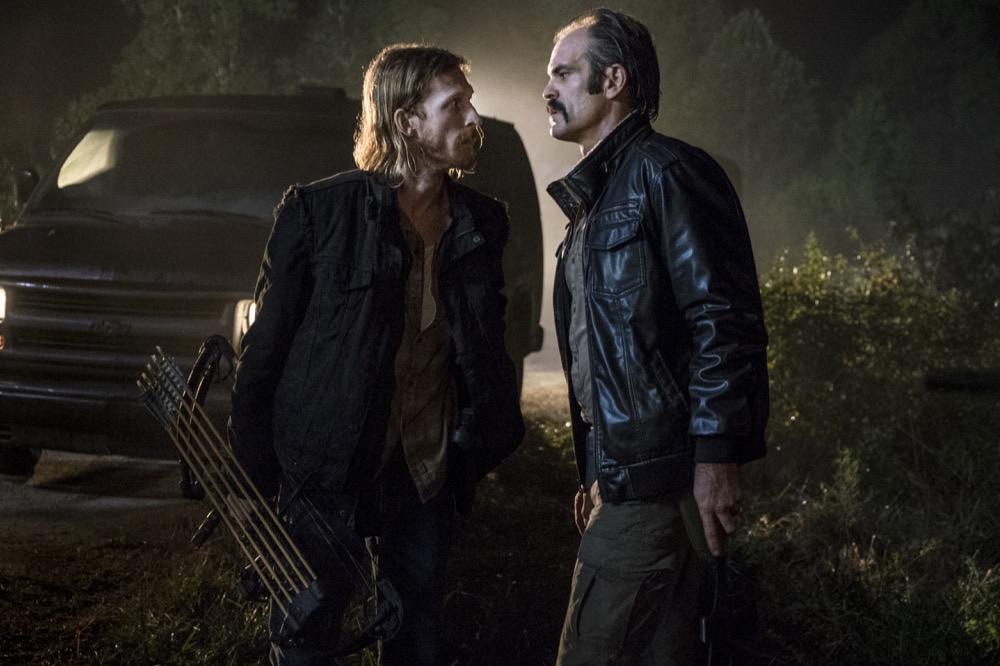 Austin Amelio as Dwight, Steven Ogg as Simon - The Walking Dead _ Season 8, Episode 13 - Photo Credit: Gene Page/AMC