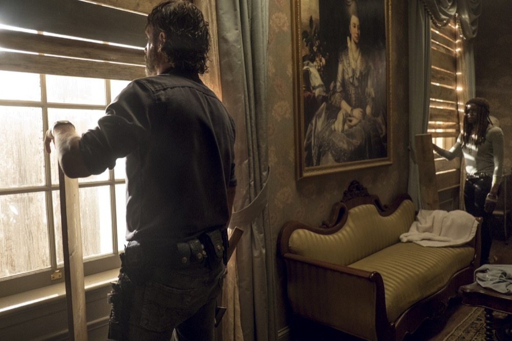 Andrew Lincoln as Rick Grimes, Danai Gurira as Michonne - The Walking Dead _ Season 8, Episode 13 - Photo Credit: Gene Page/AMC