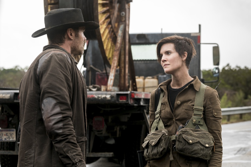 Garret Dillahunt as John, Maggie Grace as Althea - Fear the Walking Dead _ Season 4, Episode 3 - Photo Credit: Richard Foreman, Jr/AMC