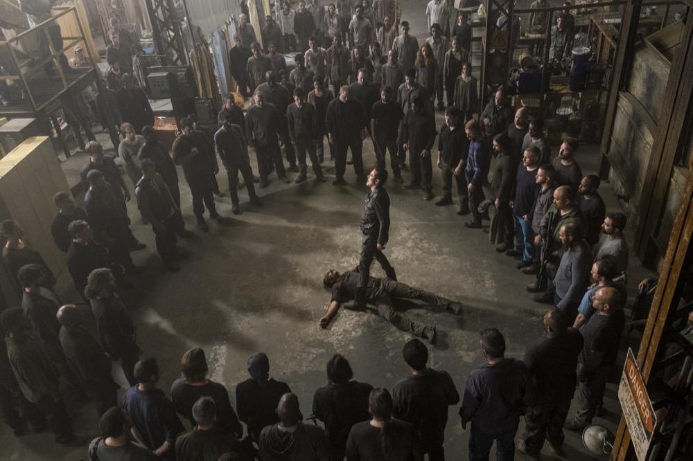 Jeffrey Dean Morgan as Negan, Steven Ogg as Simon, Austin Amelio as Dwight - The Walking Dead _ Season 8, Episode 15 - Photo Credit: Gene Page/AMC
