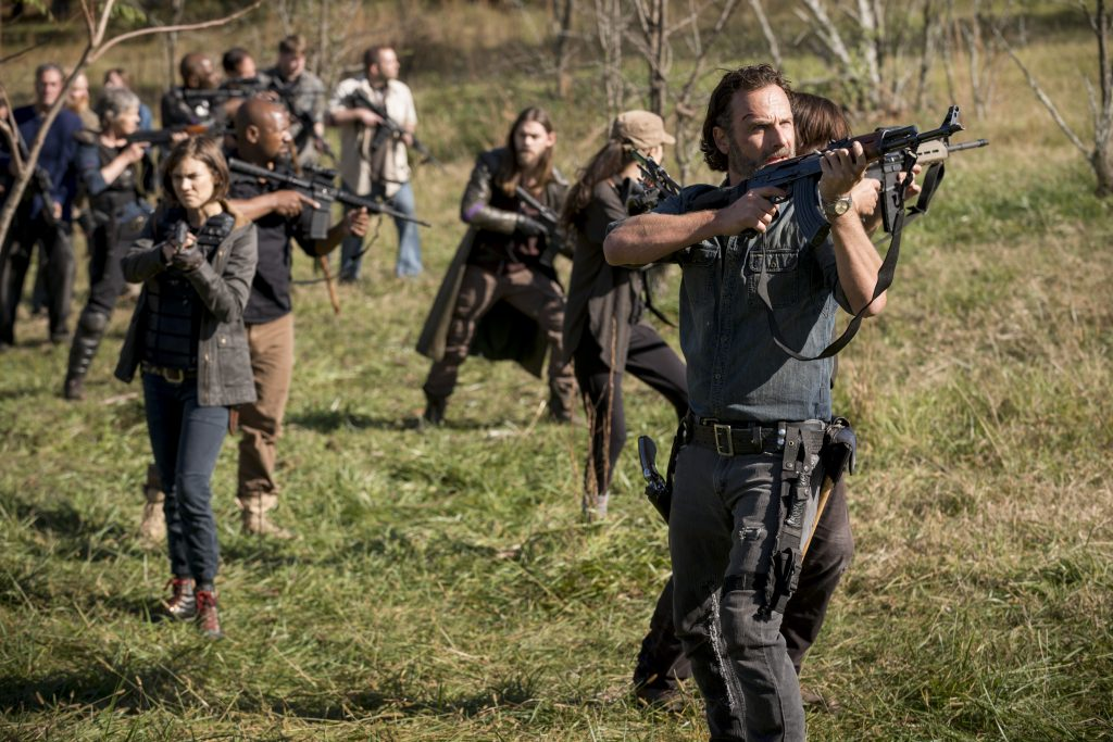 Melissa McBride as Carol Peletier, Lennie James as Morgan Jones, Lauren Cohan as Maggie Rhee, Tom Payne as Paul 'Jesus' Rovia, Christian Serratos as Rosita Espinosa, Norman Reedus as Daryl Dixon, Andrew Lincoln as Rick Grimes - The Walking Dead _ Season 8, Episode 16 - Photo Credit: Gene Page/AMC