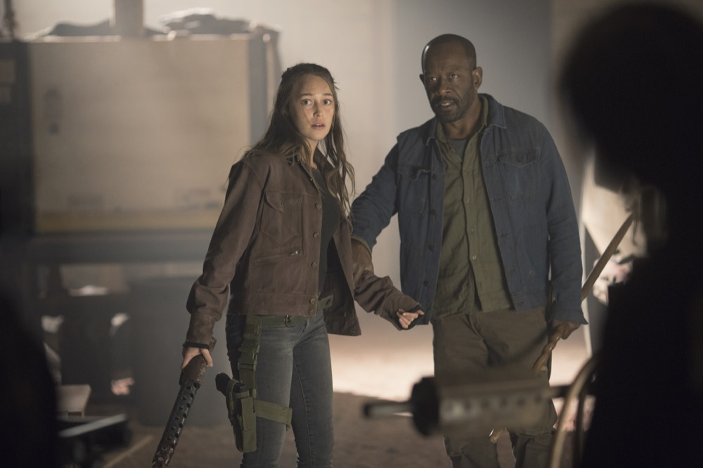 Alycia Debnam-Carey as Alicia Clark, Lennie James as Morgan Jones; group - Fear the Walking Dead _ Season 4, Episode 9 - Photo Credit: Ryan Green/AMC
