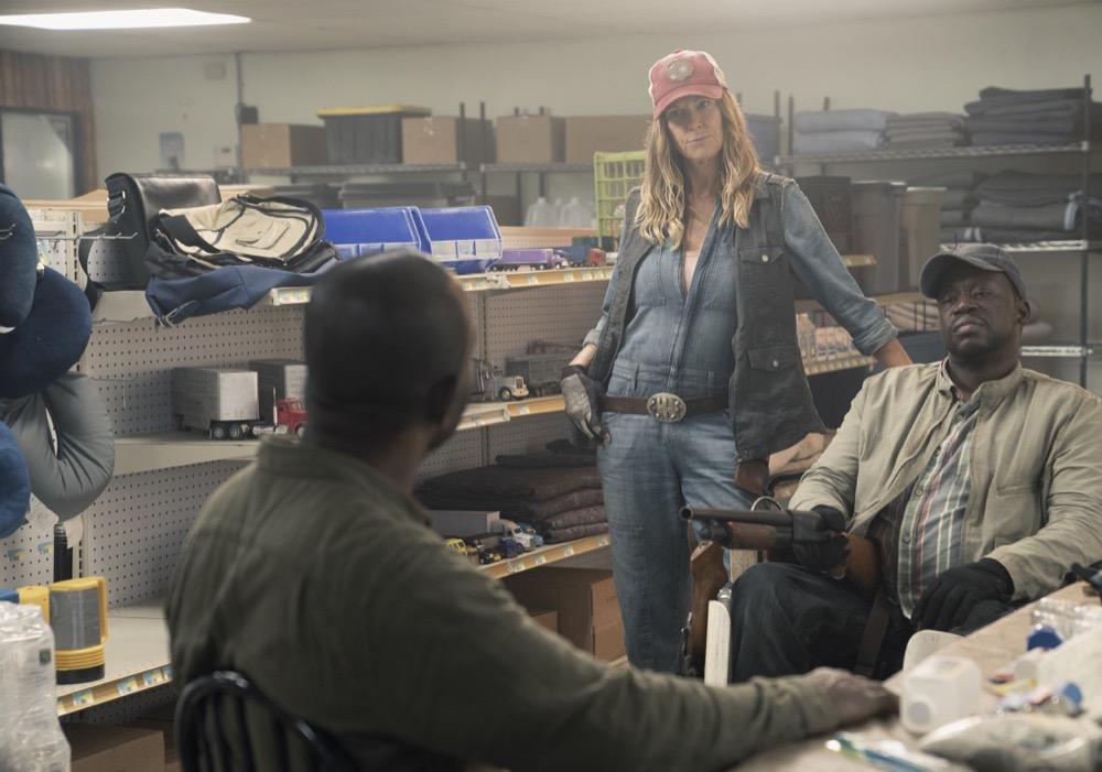 Lennie James as Morgan Jones, Mo Collins as Sarah, Daryl Mitchell as Wendell- Fear the Walking Dead _ Season 4, Episode 11 - Photo Credit: Ryan Green/AMC