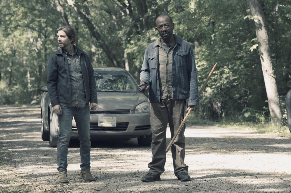 Aaron Stanford as Jim, Lennie James as Morgan Jones- Fear the Walking Dead _ Season 4, Episode 11 - Photo Credit: Ryan Green/AMC