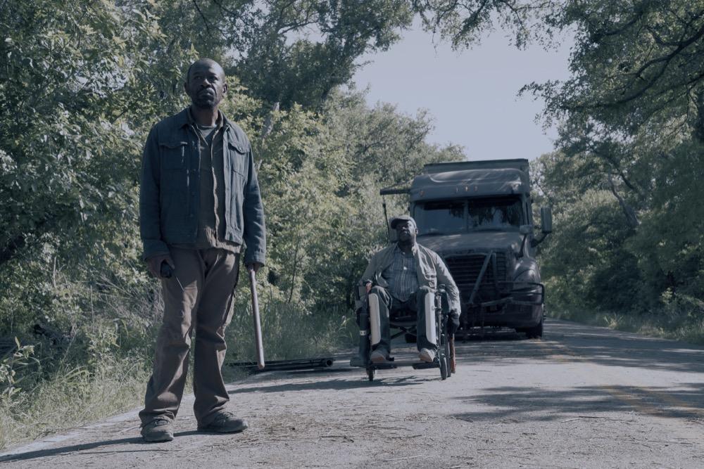 "Lennie James as Morgan Jones, Daryl ""Chill"" Mitchell as Wendell- Fear the Walking Dead _ Season 4, Episode 12 - Photo Credit: Ryan Green/AMC"