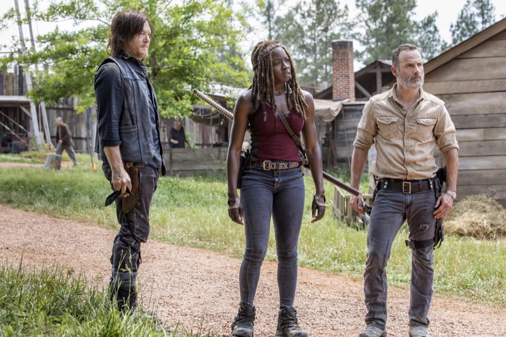 Norman Reedus as Daryl Dixon, Andrew Lincoln as Rick Grimes, Danai Gurira as Michonne- The Walking Dead _ Season 9, Episode 1 - Photo Credit: Jackson Lee Davis/AMC