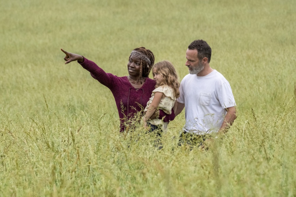 Andrew Lincoln as Rick Grimes, Danai Gurira as Michonne, Chloe Garcia as Judith- The Walking Dead _ Season 9, Episode 1 - Photo Credit: Jackson Lee Davis/AMC