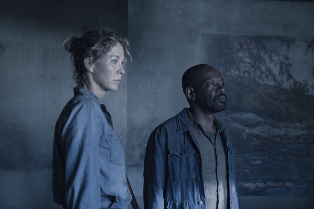 Lennie James as Morgan Jones, Jenna Elfman as Naomi - Fear the Walking Dead _ Season 4, Episode 14 - Photo Credit: Ryan Green/AMC