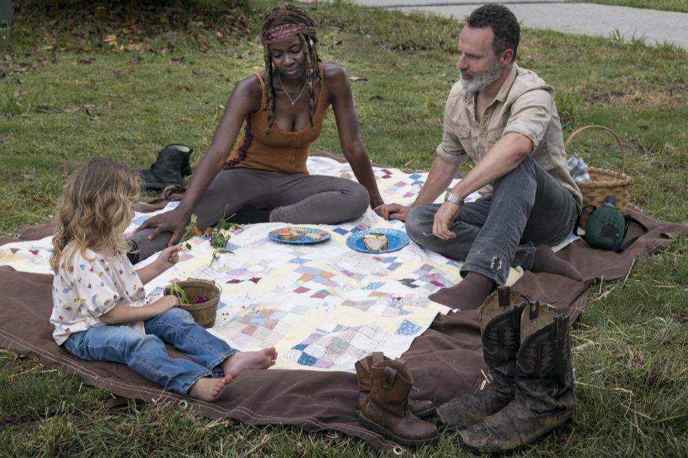 Andrew Lincoln as Rick Grimes, Danai Gurira as Michonne, Chloe Garcia-Frizzi as Judith Grimes- The Walking Dead _ Season 9, Episode 3 - Photo Credit: Gene Page/AMC