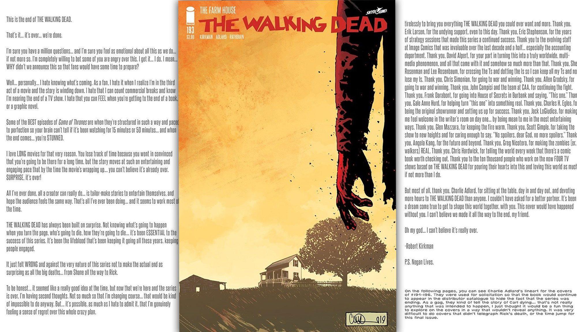 Read Robert Kirkman's Letter To Fans From The Walking Dead